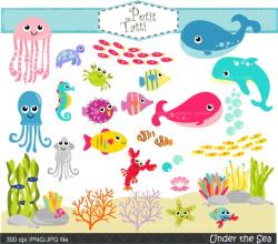 ON SALE Under the sea Clip Art ,.- Fish Clip Art, sea shell Clip Art, sea  animal Clip Art, cute Sea Creatures Clip Art