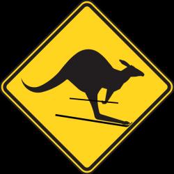 Skiing Kangaroo Warning Sign Clip Art at Clker.com - vector clip art ...