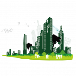 Vector Building Clip art - Buildings and trees silhouette figures ...