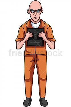 Convicted Felon In Orange Prison Jumpsuit Holding Plate ...