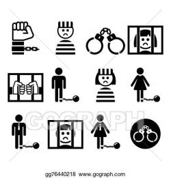 Vector Art - Prisoner, crime, slavery icons. Clipart Drawing ...