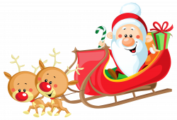 Cute Santa with Sleigh PNG Clipart Image | Gallery Yopriceville ...