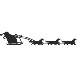 Dachshund Long Haired Santa Sleigh