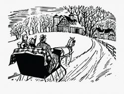 Free Clipart Of A Winter Sleigh Ride - Winter Scene Clipart ...