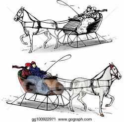 Vector Illustration - Couple riding a horse in a sleigh in ...