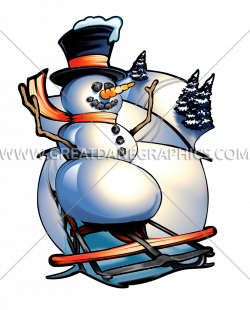 Sledding Frosty | Production Ready Artwork for T-Shirt Printing