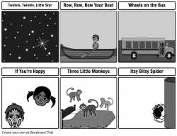 Song Cards Grayscale Storyboard by mon_shari