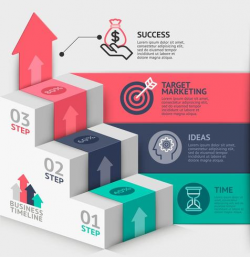 Business staircase diagram template with 3 steps - Download ...
