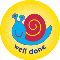 Snail - well done - pack of 75 38mm reward stickers