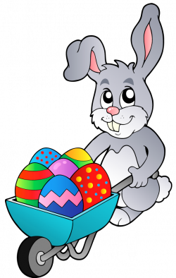 Transparent Easter Bunny with Egg Cart PNG Clipart Picture ...