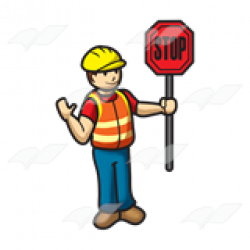 Abeka | Clip Art | Toy Construction Worker—holding a stop sign