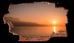 Bright Orange Sunset Coast Breaking wall Nature - Zapwalls