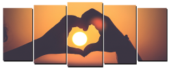 Cool Tees and Things   Love Sunset 5 Panel Wall Art