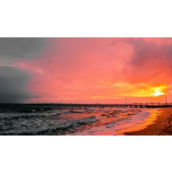 Red sunset pier - 4k - www.gnome-look.org