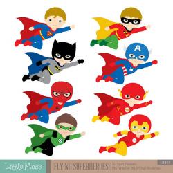 Flying Superhero Clipart, Superheroes Kids Clipart, Superheroes ...