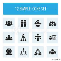 Set Of 12 Editable Team Icons. Includes Symbols Such As ...