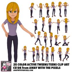25 Youth Teen Actions Clip Art, Commercial Use OK, Teenage Secondary ...