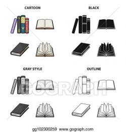 Stock Illustration - Different types of books, literature ...