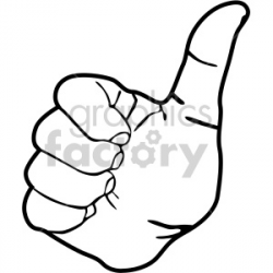 hand thumb up black white clipart. Royalty-free clipart # 408091