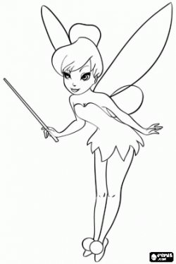 Tinker Bell with the magic wand coloring page   cakes ...