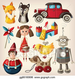 Stock Illustration - Set of colorful vintage toys. Clipart ...