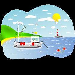 Clipart - Coastal Fishing Boat Scene