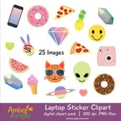Laptop Stickers Clipart- Blogger Girl Tumblr Clip Art, Blog Emoji ...