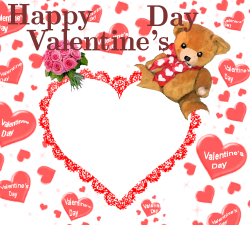 Photo frames. Happy Valentine's day teddy bear