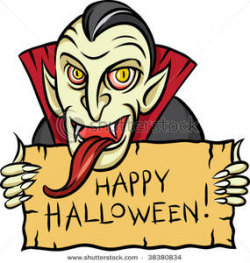 A Vampire with a Long Tongue Holding a Halloween Sign Clip ...