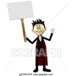 Stock Illustration - Vampire holding a sign. Clipart ...
