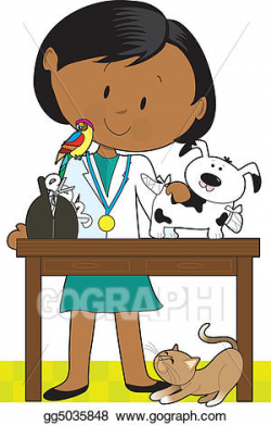 Stock Illustration - Black woman vet and pets. Clipart Drawing ...