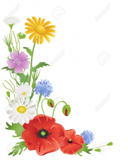drawings of a bunch of wild flowers | Wildflowers Borders Clipart ...