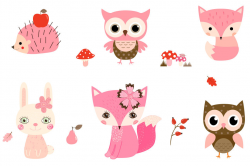 Cute Woodland Animal Clipart, Pink Forest Creature Clipart ...