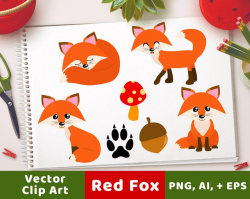 Red Foxes Clipart, Forest Animals, Cute Fox Clipart, Woodland Clipart,  Winter Clipart, Fall Clipart, Fox Graphics, Animal Clipart, Winter
