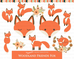 Fox Clipart, Red Fox, Woodland Friends, Fox Digital, Fox, Autumn, Fall Clip  Art - Instant Download - CA169
